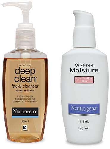 Neutrogena Deep Clean Facial Cleanser, 200ml and Neutrogena Oil Free Moisture For...