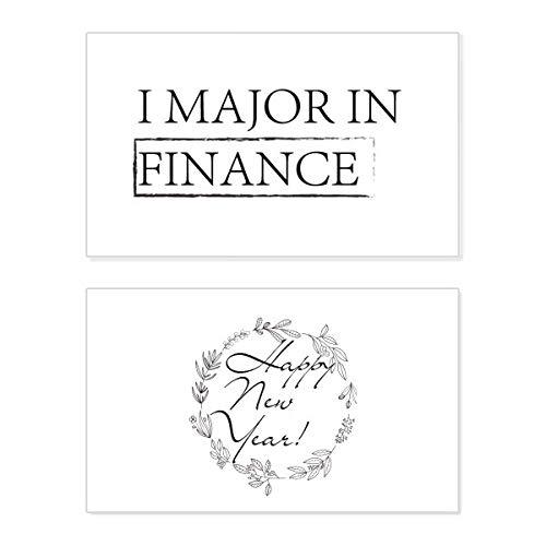 Tarjeta conmemorativa de año nuevo con texto en inglés «I Major In Finance»