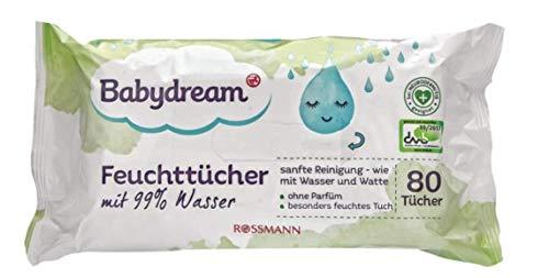 Babydream - Toallitas húmedas (99% de agua, sin perfume, 4 paquetes de 80 unidades)