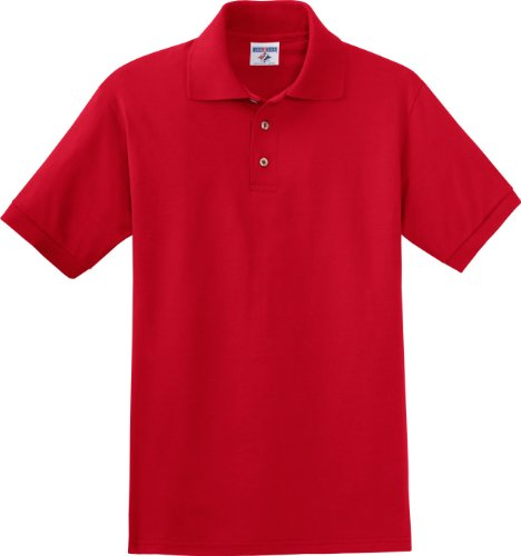 Jerzees Herren Button-down Poloshirt Gr. Large, True Red