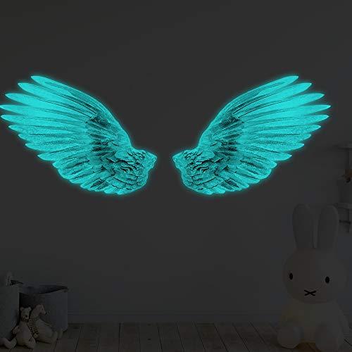 EXTSUD Angel Wandaufkleber Luminous Wing Wandsticker Engel Flügel Selbstklebende PVC Phosphoreszierende 3D Wandtattoo Dekoration für Kinderzimmer Schlafzimmer 27 ×5 CM