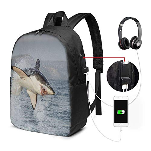 Yin and Yang Symbols of Fish Fashion Travel Backpacks for Men and Women, School Laptop Bookbags with USB Charging Port Fit 17 Inch