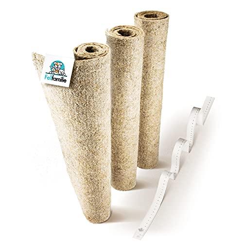 Fellfamilie® Nagerteppich aus Hanf [100 x 50cm] - Besonders Hygienisch & Extra Saugstark - Hanfmatten für Nager - Einstreu-Ersatz Nagermatte für Hamster & Kaninchen Käfige (3 Stück)