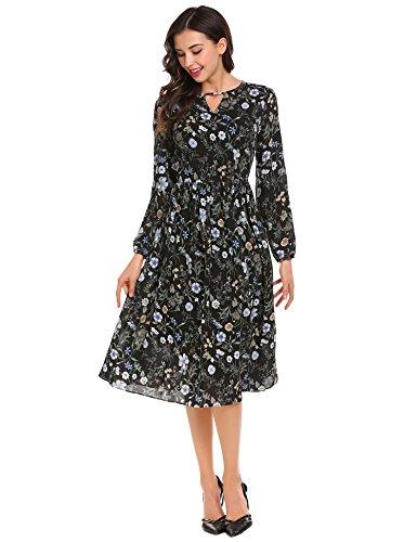 Damen Elegant Chiffonkleid lang Rundhals Brautjungfernkleid im Empire-Stil Langarm Partykleid Hochzeit Festliches Kleid Polka Dots A-Linie Kleider