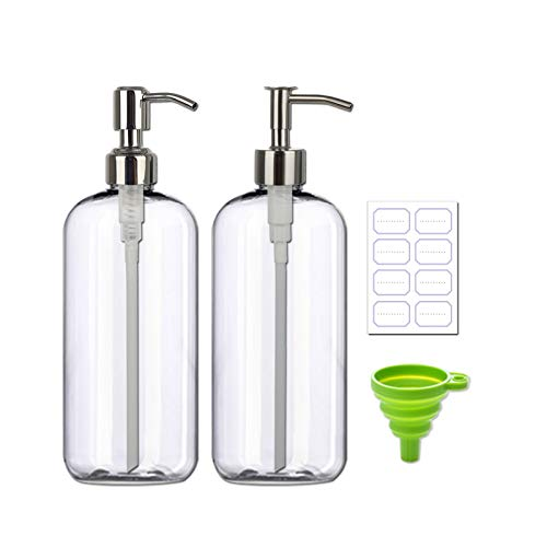 Refillable 32oz 2pack Steel Pump Dispenser Bottle, BPA-Free 1Liter Crystal Clear Multi-Use Empty Plastic Container with Funnel for Shampoo, Conditioner, Body Wash, Liquid Hand Soap, Lotion, BeautyCare