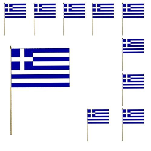 Sonia Originelli 10er Set Fahne Flagge Winkfahne WM Fußball Fan Stab Farbe Griechenland