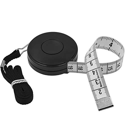 FEELCAT オートメジャー 150cm/60inch 両面メモリ 巻き尺 自動巻取り式 周囲測定用 テープメジャー 裁縫用 採寸 手芸用 (黒)