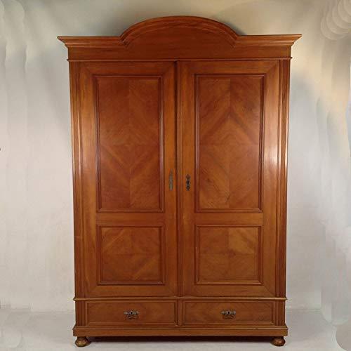 Arabesce Antique Shop Antiker Gründerzeit Schrank Birnbaum furniert mit 2 Schubladen und Fachboden Kleiderschrank Dielenschrank Flur Wohnzimmer Wäscheschrank