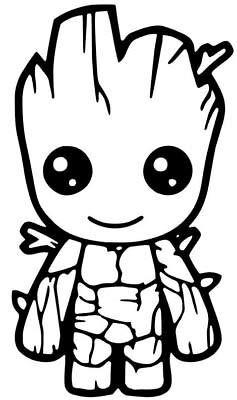 SUPERSTICKI Baby Groot lächelnd Guardians of The Galaxy 20cm Aufkleber,Autoaufkleber,Wandtattoo,Sticker Profi-Qualität für Lack,Scheibe,etc.Waschanlagenfest