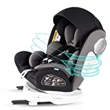Bonio Kindersitz 360 ° Drehung Baby Autositz Gruppe 0+/1/2/3 (0-12 Jahre alt) ISOFIX und LATCH Schnittstelle mit Seitenschutz für Babys 0-36kg (Schwarz-5)