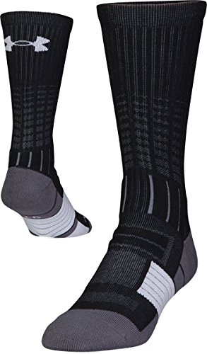 Under Armour Adult Unrivaled Crew Socks, 1-Pair, Black/White, Shoe Size: Mens 8-12, Womens 9-12