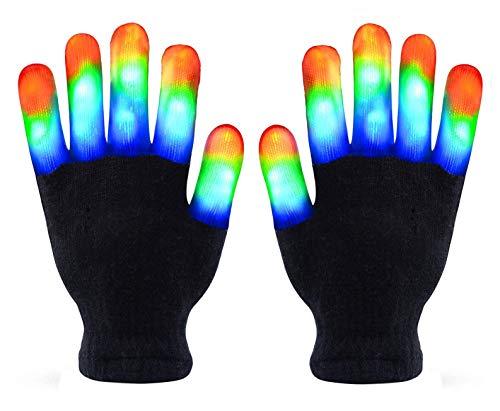 Skeleton Gloves, Led Gloves Kids, Light Up Gloves Finger Light Magic Toys Gift Stocking Stuffers for Boys Girls Age from 5 To 10 Christmas Thanksgiving Birthday Glow Party Favor (Black, Adult)