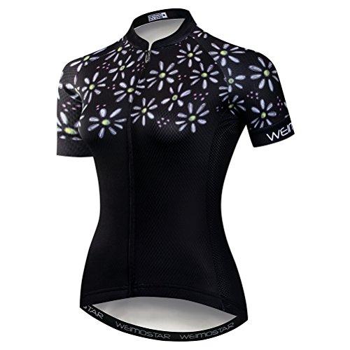 weimostar Maillot de cyclisme à manches courtes pour femme avec fermeture éclair et t-shirt respirant pour l'été Noir Taille L