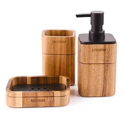Satu Brown Badezimmerzubehör-Set Akazienholz 3-teilig inkl. Bad-Seifenspender, Badezimmerbecher, Seifenschale Zubehör für Badezimmer Dekor