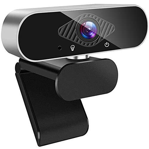 Guijiyi Webcam con Micrófono, Cámara Web Full HD 1080P, CMOS Cámara Web,Micrófono con Reducción de Ruido,Plug and Play USB,Base Giratoria de 360°,para PC Computadora Portátil, Videollamadas