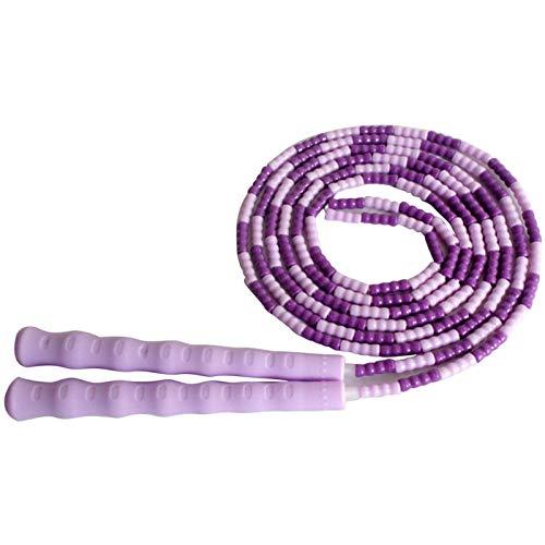 Cuerda para Saltar Saltarse la Cuerda Yoga Suave Abalorios Entrenamiento Saltando sin resbalón Mango Gimnasio Deportivo Ejercicio Grasa Quema Entrenamiento de Fitness segmentado Purple