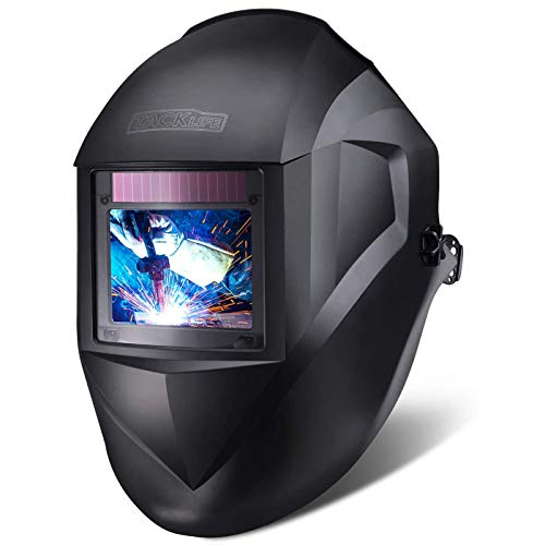 """TACKLIFE Professional Welding Helmet Auto Darkening, 3.94""""x2.87"""" Large Viewing Area Welding Mask With Top Optical Clarity 1/1/1/1, 1.15lb Light Welding Hood With 7 Replacement Accessories - PAH03D"""