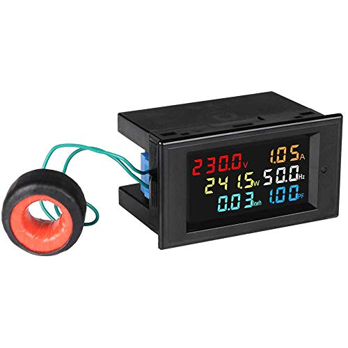 amiciSense Energy Meter 6 in 1, 80V-300V AC 100A Power Meter with Multi-Colour Digital Display