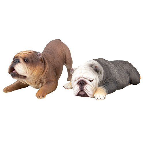 TOYMANY Realistic Large Bulldog Figurines, Solid Dog Figures Toy Set, Christmas Birthday Gift Party Decoration for Kids Toddlers Children (2pcs)