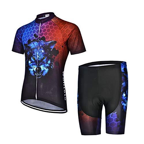 OJKYK Maillot Ciclismo Hombres Ciclismo Conjunto De Ropa Manga Corta + 9d Gel Shorts Deportes Al Aire Libre Ciclo Bicicleta Cycling Suit