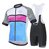 Bike Wear De Manga Corto Maillot+ Pantalones Cortos Mangas Cortas de Ciclismo Ropa Maillot Transpirable para Deportes al Aire Libre Ciclo Bicicleta Equipacion Cicli(Size:3X-Large,Color:azul blanco)