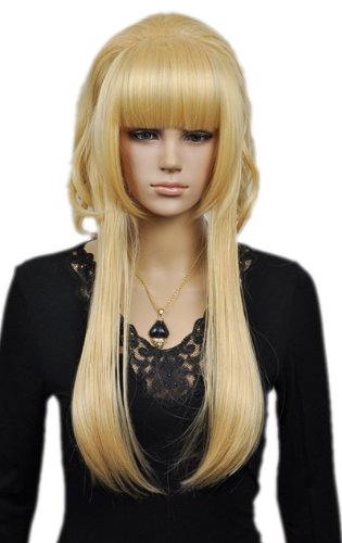 Qiyun Court Longue Raide Princess Style Blond Jaune Complete Cheveux Cosplay Anime Costume Perruque