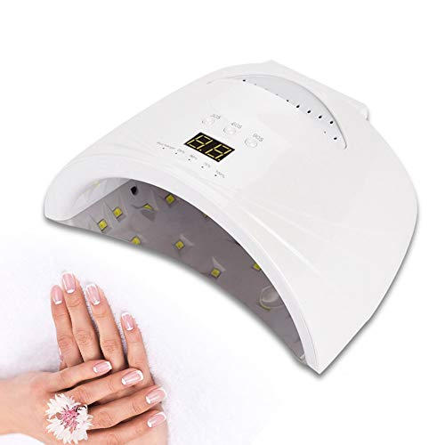 48W Nail Dryer Lamp, Cordless Rechargeable Led UV Light Manicure Art Tool with 30s 60s 90s Time Setting Function for Gels Polish(White)