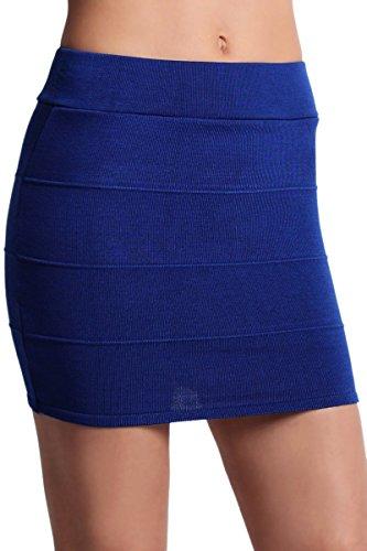 TheMogan Women's Rib Knitted Pull On Bodycon Mini Short Skirt Royal Blue 2XL