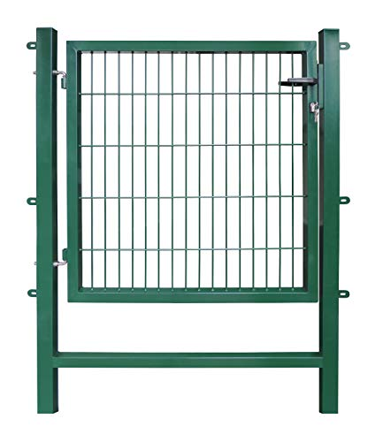 Gartentor Easy ( Besonderheit : kein ausrichten der Pfosten notwendig durch Querverbindung ! ) , BxH 1 x 1 m, grün - Tor für Doppelstabmattenzaun - komplett mit Pfosten, Montagematerial & Schloss