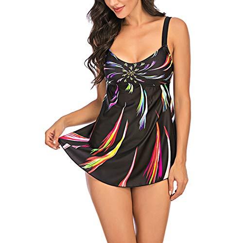 Costume da Bagno Donna Tankini 2 Pezzi Bikini Intero Allentato Spalline Sexy Scollo a V Senza Manica Stampa a Colori Grandi Taglie+Perizoma S-5XL (Multicolori, XXL)