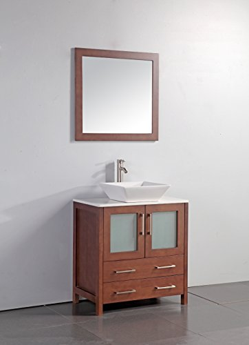 Legion Furniture WA7830C 30' Artificial Stone Top Vessel Sink Bathroom Vanity with Matching Framed Mirror and, Cherry Finish