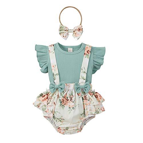 Julhold Babykleidung Set Baby Mädchen Kleidung Outfit 3-teiliges Rüschen Fliegende Ärmel Monochrom Gestreiftes Oberteil + Hosenträger-Shorts Mit Blumendruck + Haargummiset 3-18 Monate(Grün,80)
