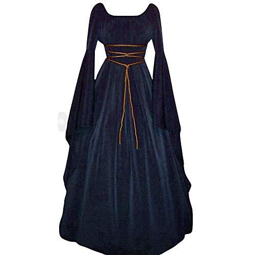 YEBIRAL Damen Mittelalterliche Kleid mit Trompetenärmel Mittelalter Party Viktorianischen Königin Kleider Bodenlänge Cosplay Dress Renaissance Kostüm Maxikleid Lang Halloween Kostüm