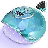 Janolia Nageltrockner Lampe, 86W LED UV Nagellampe mit Sensor LCD Display für Gelnägel, Professionelle Nagellampe für Fingernagel und Zehennagel Nageldesign mit 4 Timer, Geeignet für...