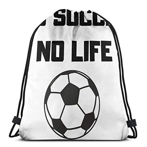 Drawstring Bag pocket backpack gym shopping sports yoga Beach Rucksack No Soccer No Life