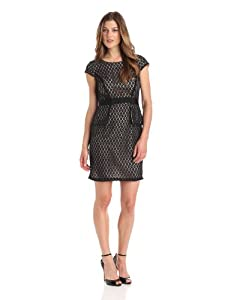 Gabby Skye Womens Sleeveless Round Neck Lace Sheath Dress Dress