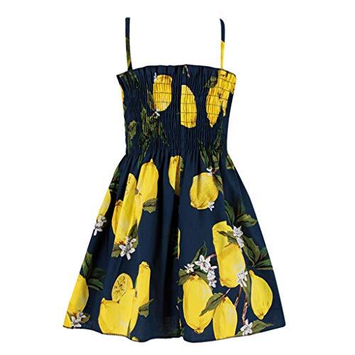 Huihong Baby Girls Kleinkind Ärmelloses Sommerkleid mit Schleife Zitronen Ananas Kirsch Druck Babykleid Partykleid Partei Festliches Kleid Sweetkleid (90, Gelb)