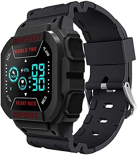 QIXIAOCYB Reloj multifuncional de la pantalla cuadrada de la música sana Bluetooth deportes reloj, negro,