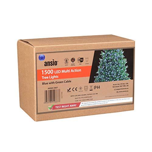 ANSIO Luci natalizie per interni e esterno 1500 LED albero luci Blu, 8 modalità con memoria e funzione timer, alimentate, trasformatore incluso 37,5 m/123ft Lunghezza illuminata- CAVO VERDE