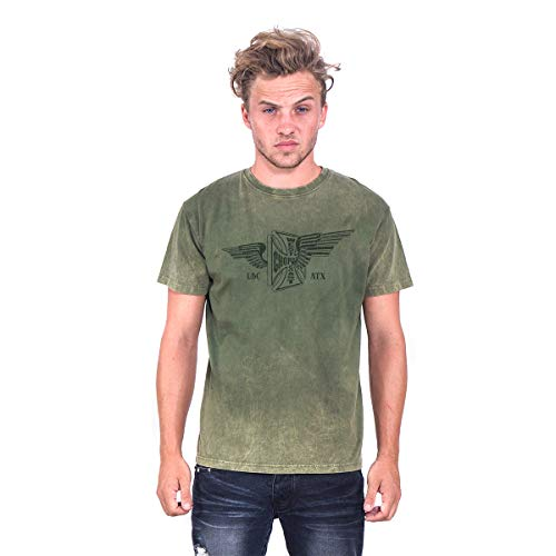 West Coast Choppers Men T-Shirt Cross Wings Retro Stone, Talla:L, Color:Army Green