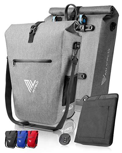 MIVELO Fahrradtasche Gepäckträgertasche wasserdicht 100{590f5ffc9478ab0a2b6395bf7c9ed6be671f9d8755ba9dbbd0d862d01a54a8c8} PVC frei + Laptopfach + Schloss + Schultergurt – Fahrrad Tasche für Gepäckträger 1 STK grau