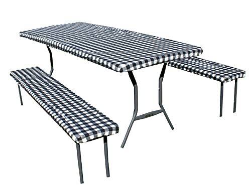 Rally Home Goods Outdoor Vinyl Tablecloth Rectangular Fitted Cover Table + Benches 3-pc, Flannel Backing Elastic 30x72'' (6-FT), Waterproof Wipeable, Black/White Gingham Check Plastic Camping Picnic