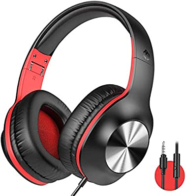 iClever HS18 Over Ear Headphones with Microphone - Lightweight Stereo Headphones, Adjustable Foldable Wired Headphones with 3.5mm Jack for Online Class/Meeting/PC/Phone/Computer (Red) by Iclever