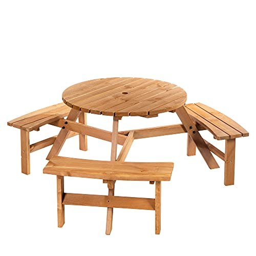 Outsunny Fir Wood Pub Parasol Table and Bench Set 6 Person Heavy Duty Patio Dining Garden Outdoor Furniture