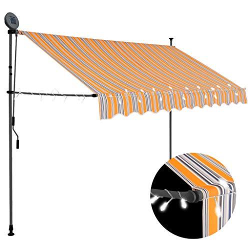 vidaXL Markise Einziehbar Handbetrieben mit LED Wasserabweisend Klemmmarkise Balkonmarkise Sonnenschutz Terrasse Balkon Garten 250cm Gelb Blau