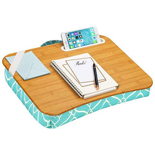 LapGear Designer Lap Desk with Phone Holder and Device Ledge - Aqua Trellis - Fits up to 15.6 Inch Laptops - Style No. 45422
