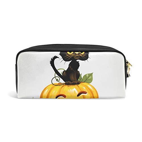 FANTAZIO Federmäppchen mit schwarzer Katze auf Halloween, Kürbis-Make-up-Tasche
