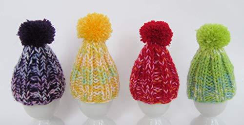 4 er Set Eierwärmer mit Puschel Pompom handgestrickt Pudelmütze viele Farben bunt reine Handarbeit Handmade gestrickt