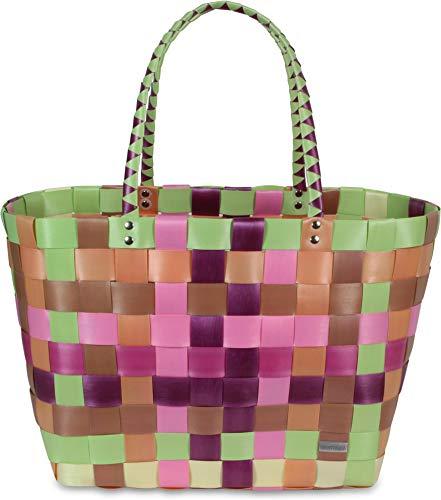 normani Einkaufskorb Shopper geflochten aus Kunststoff - robuster Strandkorb aus wasserabweisendem Material Farbe Classic/Autumn Fruit