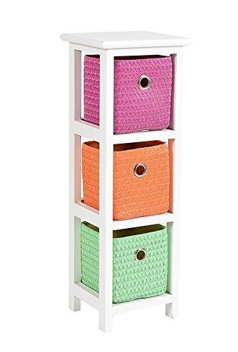 ts-ideen Kommode Nachttisch Schrank 62 cm Höhe Bad Regal Weiß mit 3 Körben in Orange Pink Grün für Kinderzimmer, Büro, Bad, Flur und Babyzimmer